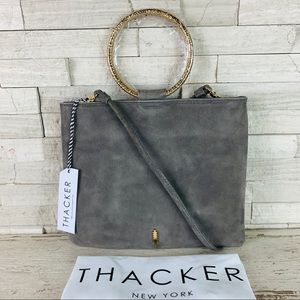 Thacker NWT LE POUCH Grey Suede/Hammered Gold $148
